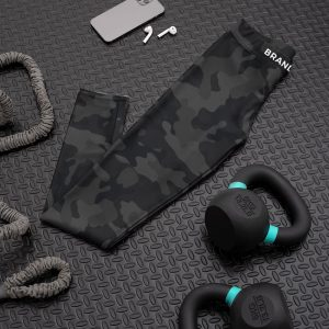 Nuhemp Black grey camouflage capri yoga pants leggings