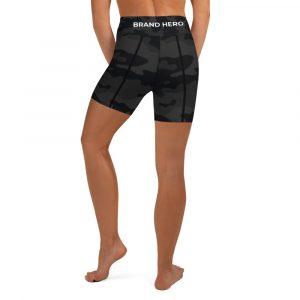 Nuhemp Black Grey Camo Brand Hero Yoga Shorts