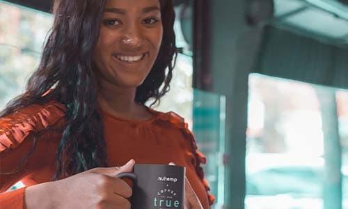nuhemp-truecoffee-image-girl enjoying hemp infused coffee