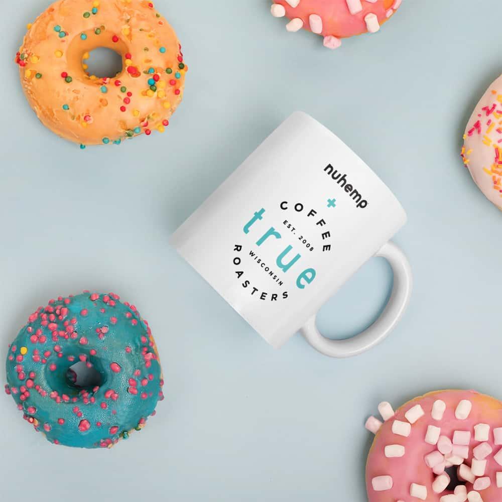 Nuhemp Coffee mug with Donuts and True Coffee Roasters