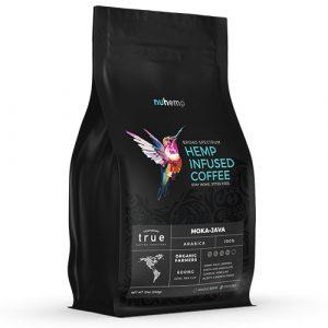 Nuhemp TrueCoffee Roasters hemp imfused mocha java fresh blend hemp infused coffee 12oz stay fresh bag